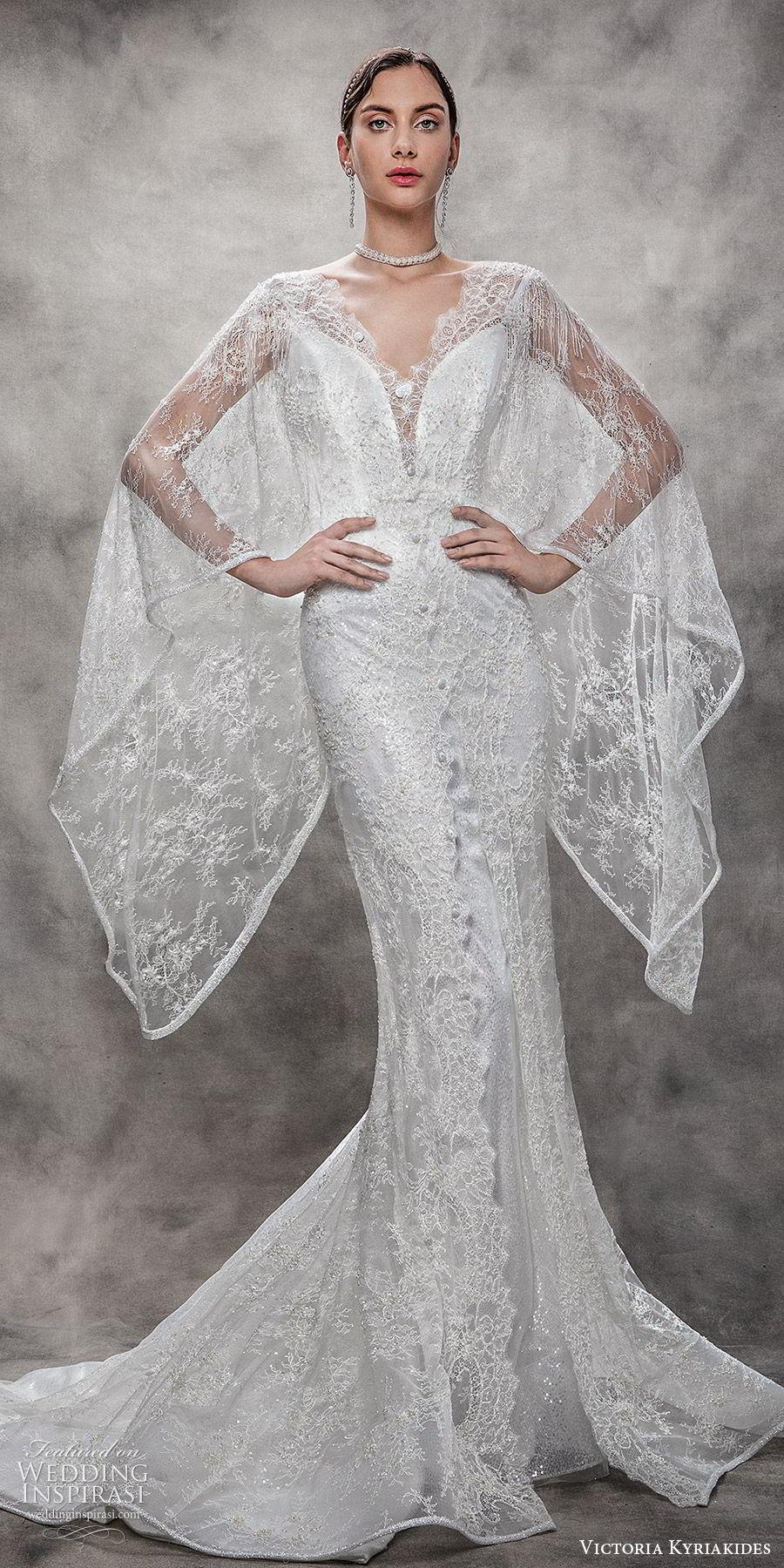victoria kyriakides spring 2020 bridal beaded fringe short sleeves split sweetheart neckline sheath wedding dress (17) chapel train glitzy sheer full length jacket cape mv