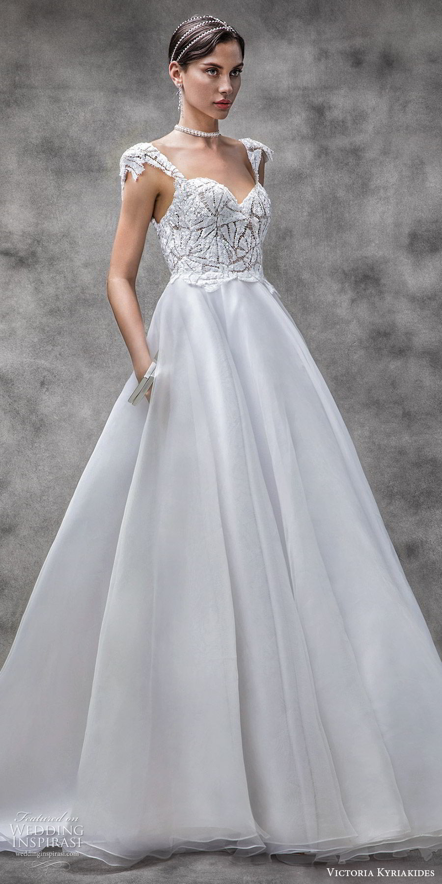 victoria kyriakides spring 2020 bridal cap sleeves sweetheart embellished bodice a line ball gown wedding dress (16) elegant romantic modern mv