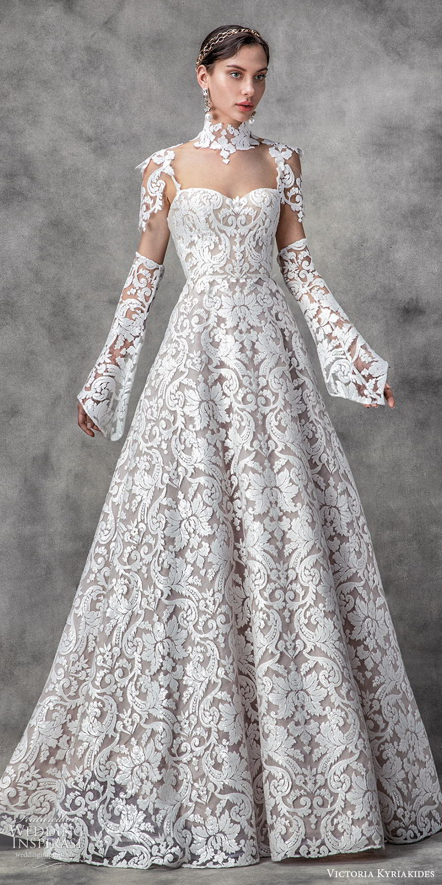 victoria kyriakides spring 2020 bridal illusion cap sleeves detached long sleeves high neck sweetheart fully embellished lace a line ball gown wedding dress (14) modern romantic mv