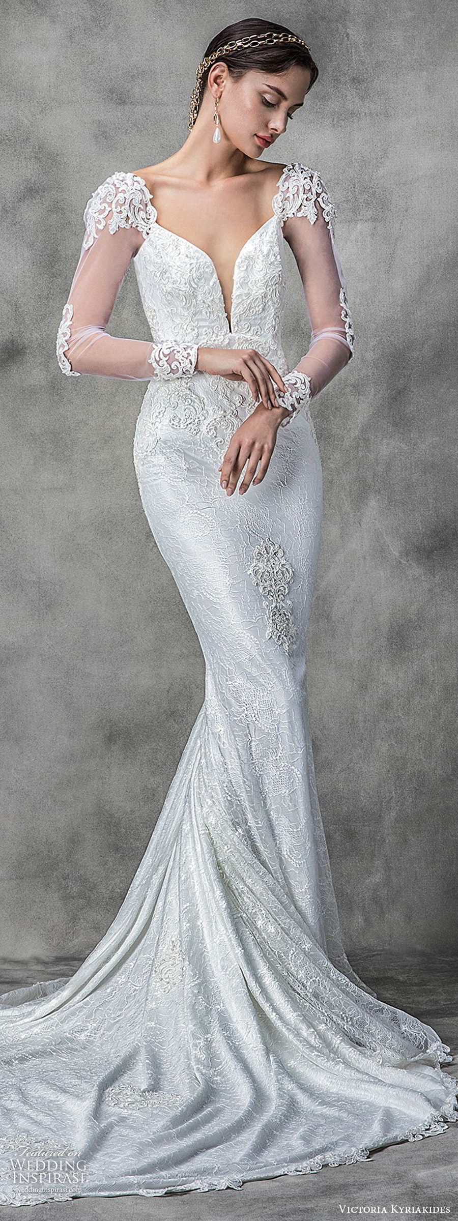 victoria kyriakides spring 2020 bridal illusion long sleeves split sweetheart neckline fully embellished lace sheath wedding dress (13) elegant chapel train lv