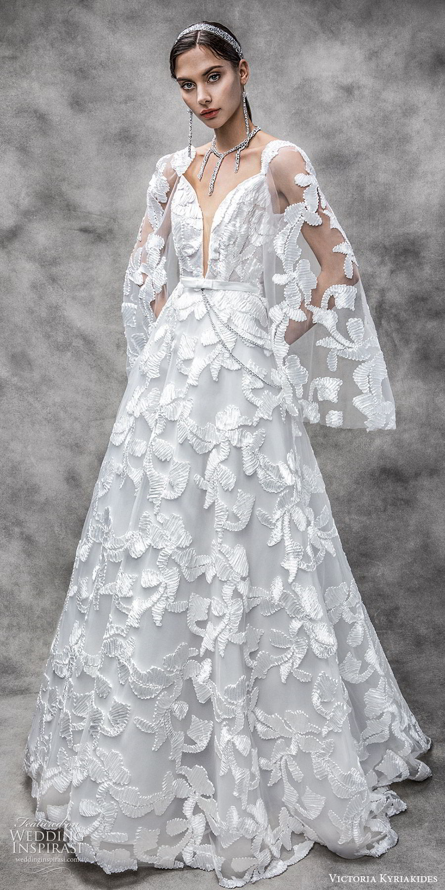 victoria kyriakides spring 2020 bridal sheer pagoda sleeves split sweetheart neckline fully embellished a line ball gown wedding dress (9) modern romantic mv
