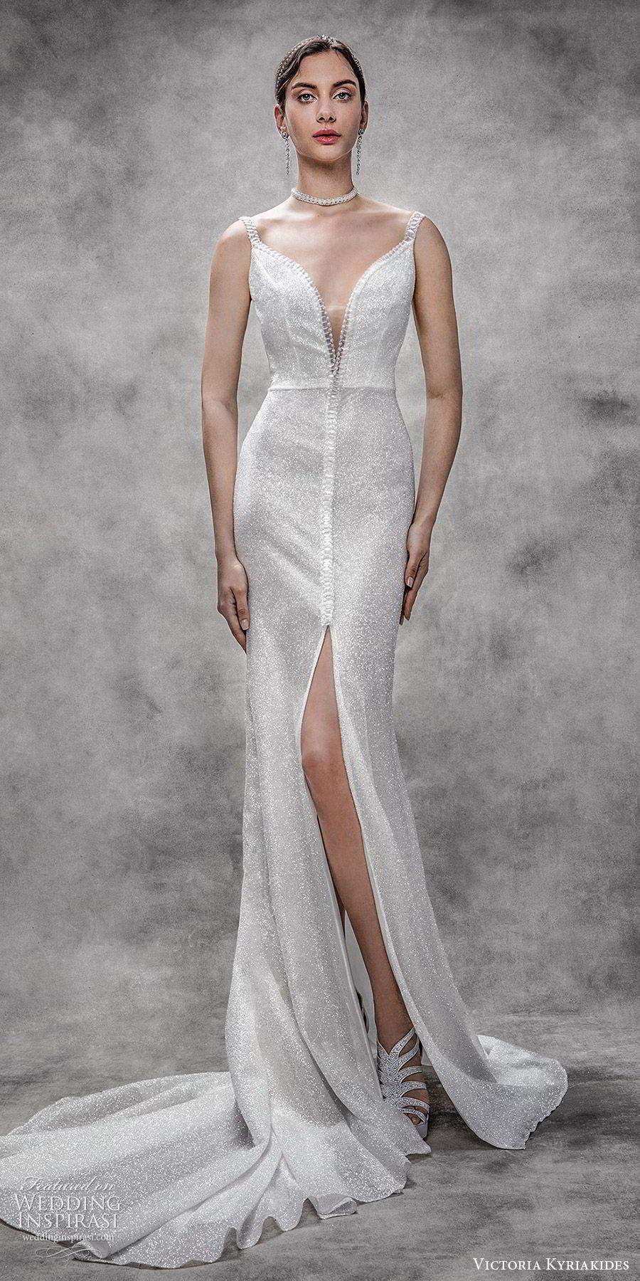 victoria kyriakides spring 2020 bridal sleeveless beaded straps split sweetheart neckline fully embellished sheath wedding dress (8) glitzy glam elegant chapel train slit skirt mv