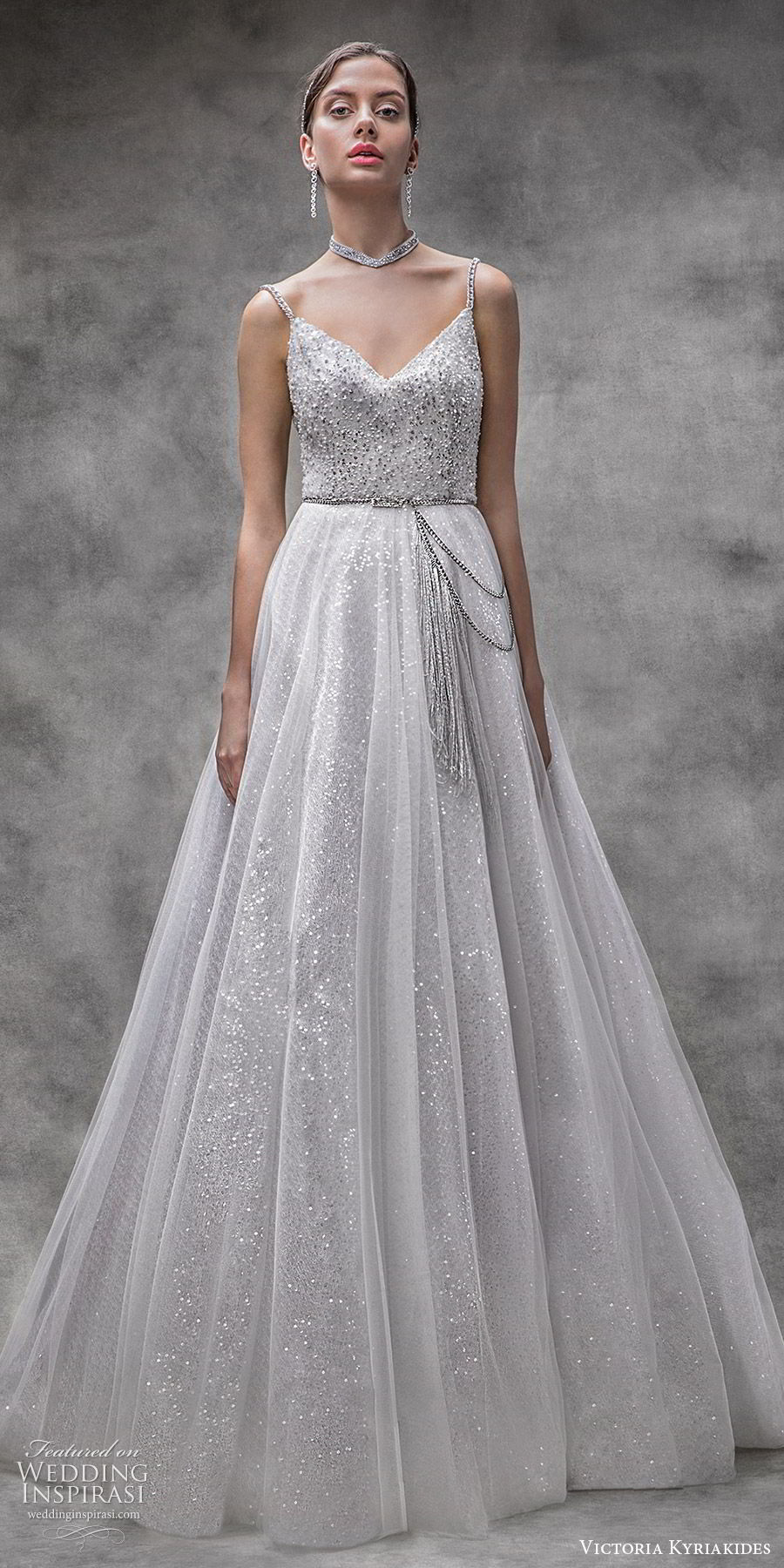 victoria kyriakides spring 2020 bridal sleeveless beaded straps v neck fully embellished a line ball gown wedding dress (11) glitzy romantic glam modern metallic mv