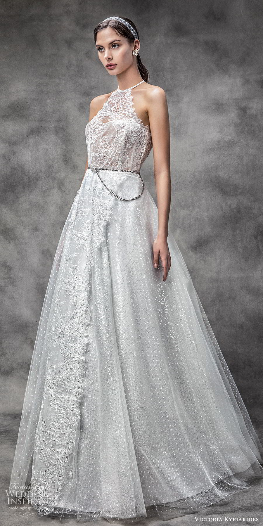 victoria kyriakides spring 2020 bridal sleeveless halter neck sheer bodice sweetheart fully embellished a line ball gown wedding dress (3) glitzy romantic mv