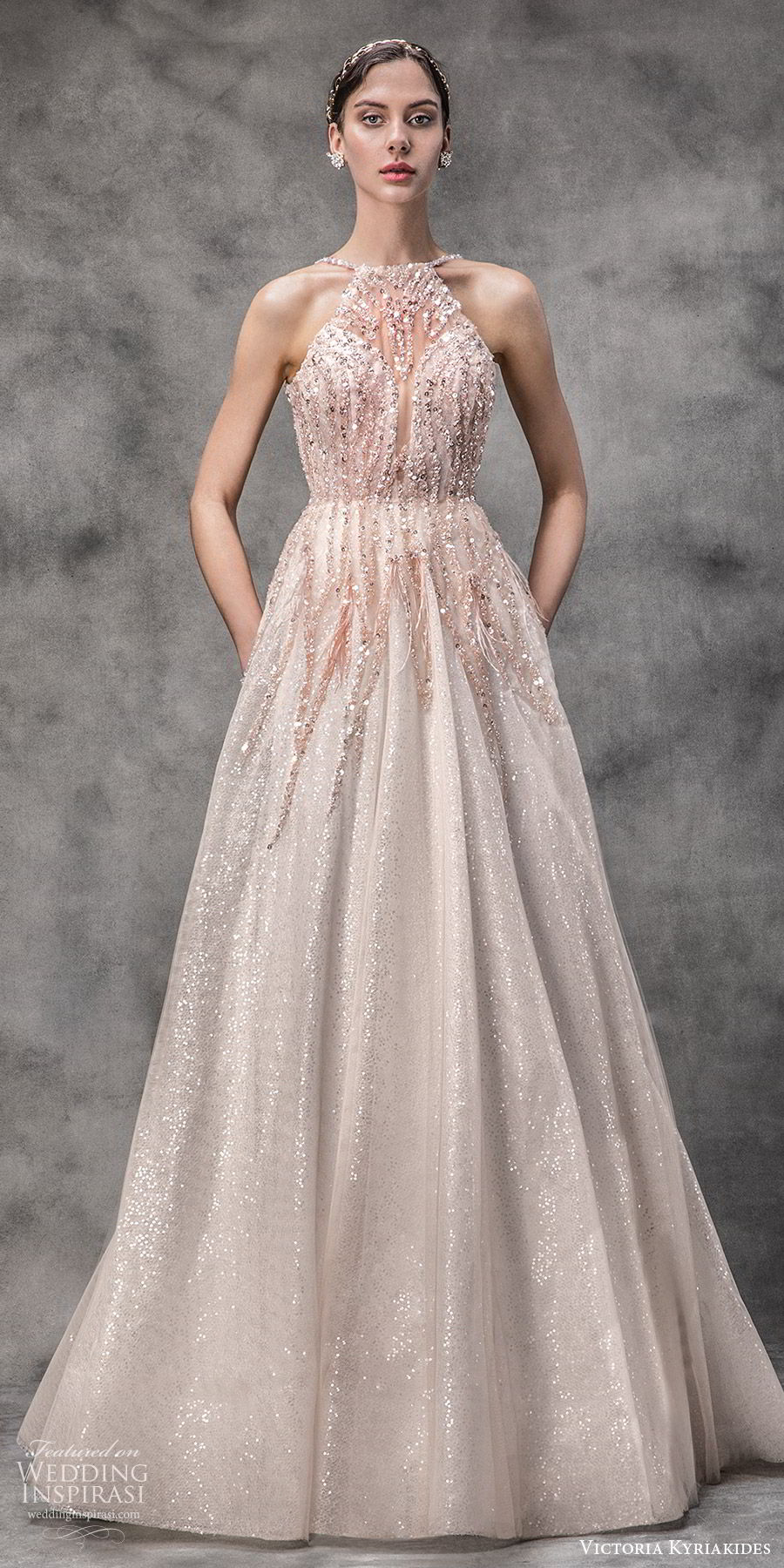victoria kyriakides spring 2020 bridal sleeveless halter neck sheer bodice sweetheart fully embellished a line ball gown wedding dress (4) blush color glitzy romantic mv