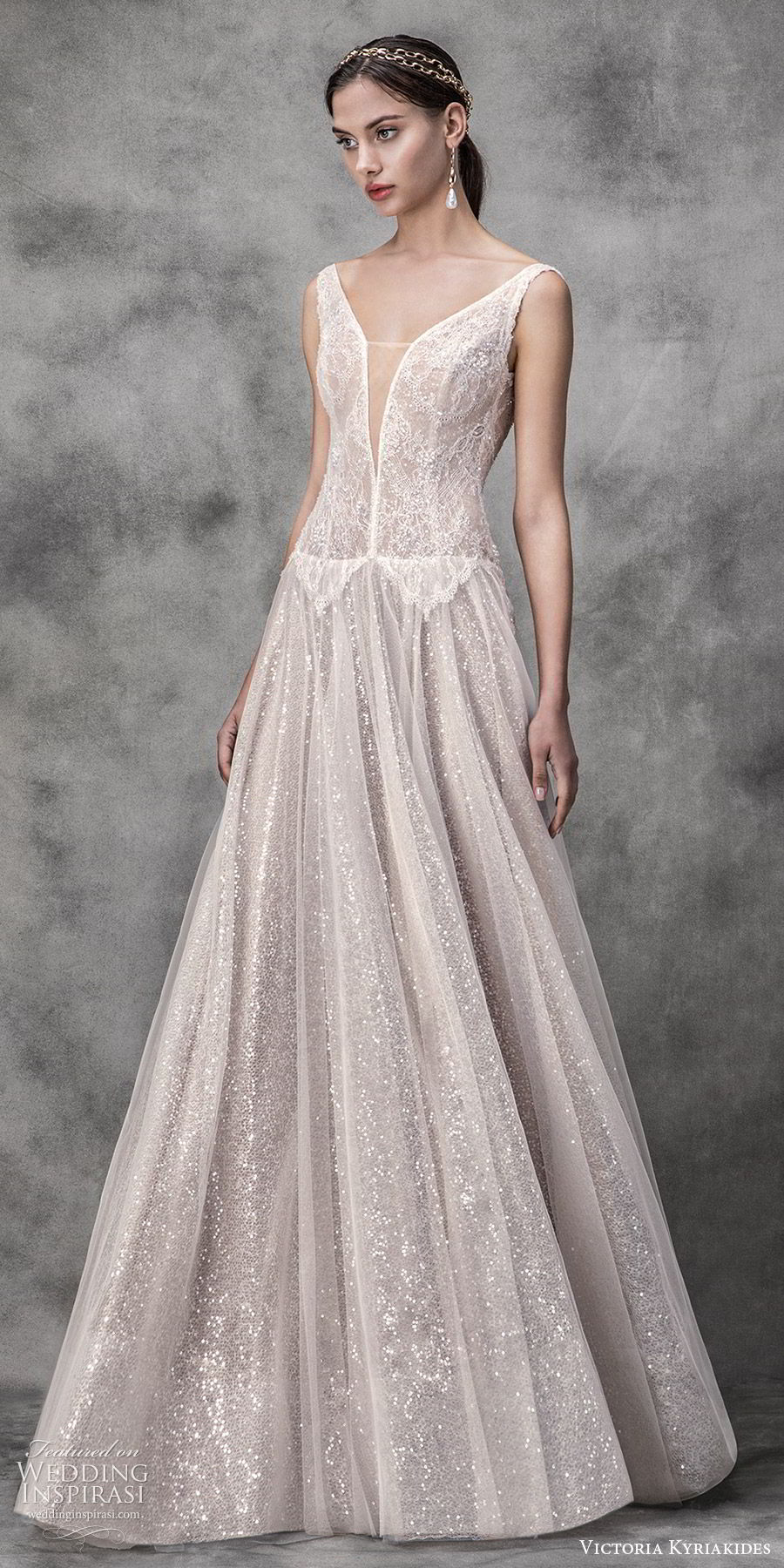 victoria kyriakides spring 2020 bridal sleeveless split sweetheart neckline drop waist fully embellished lace a line ball gown wedding dress (15) blush romantic glitzy mv