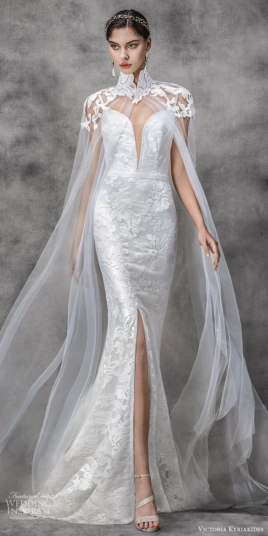victoria kyriakides spring 2020 bridal sleeveless straps split sweetheart neckline embroidered sheath wedding dress slit skirt (1) sheer high neck cape mv