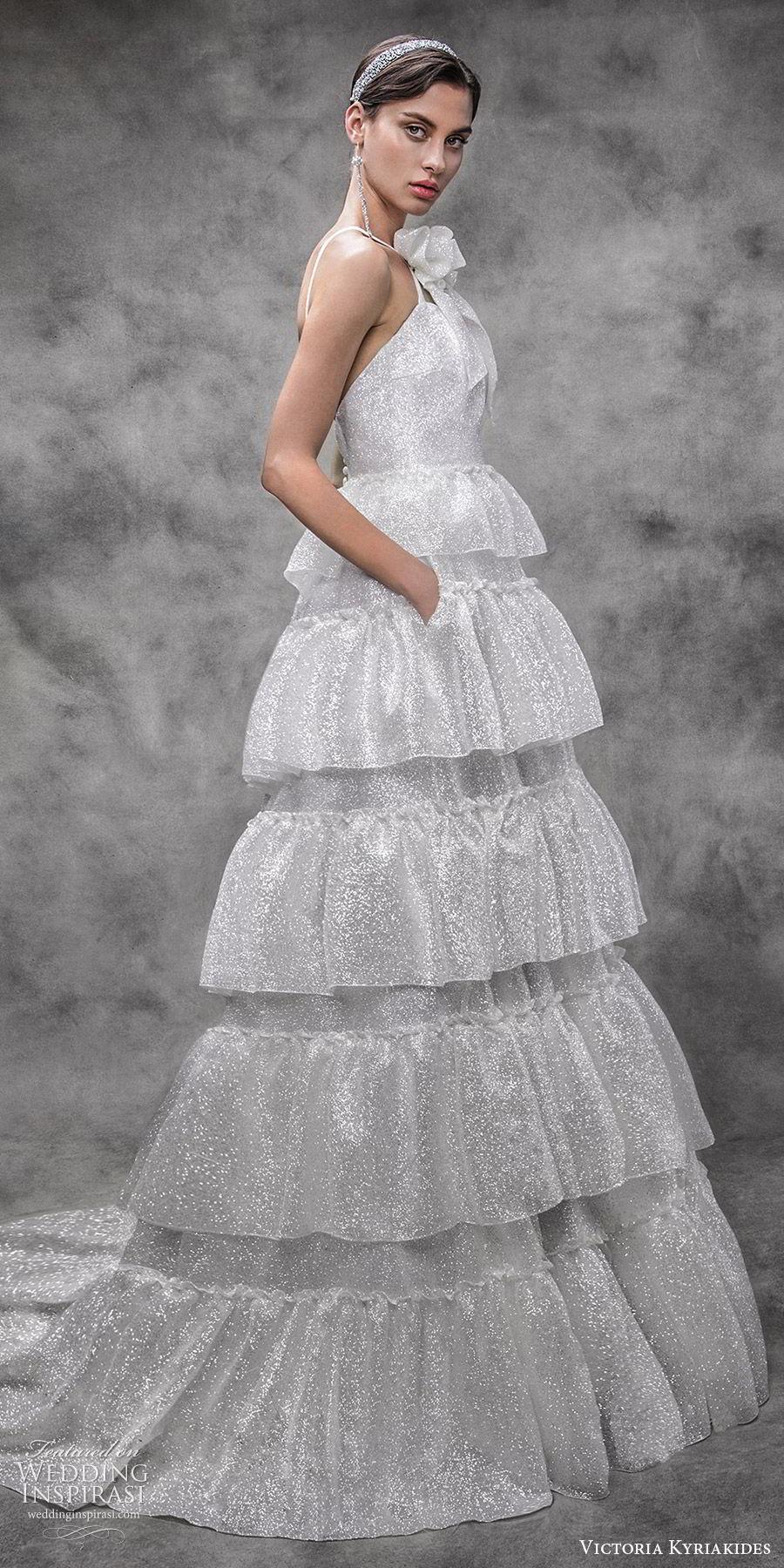 victoria kyriakides spring 2020 bridal sleeveless straps sweetheart tiered skirt a line ball gown wedding dress (6) pockets chapel train glitzy modern mv