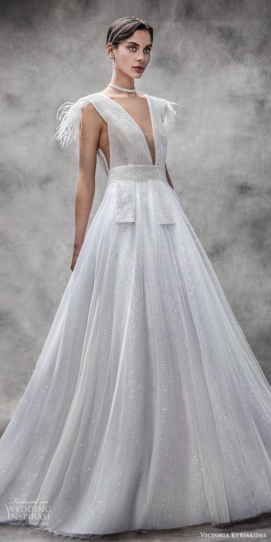 victoria kyriakides spring 2020 bridal sleeveless thick straps deep v neckline a line ball gown wedding dress (2) glitzy romantic mv