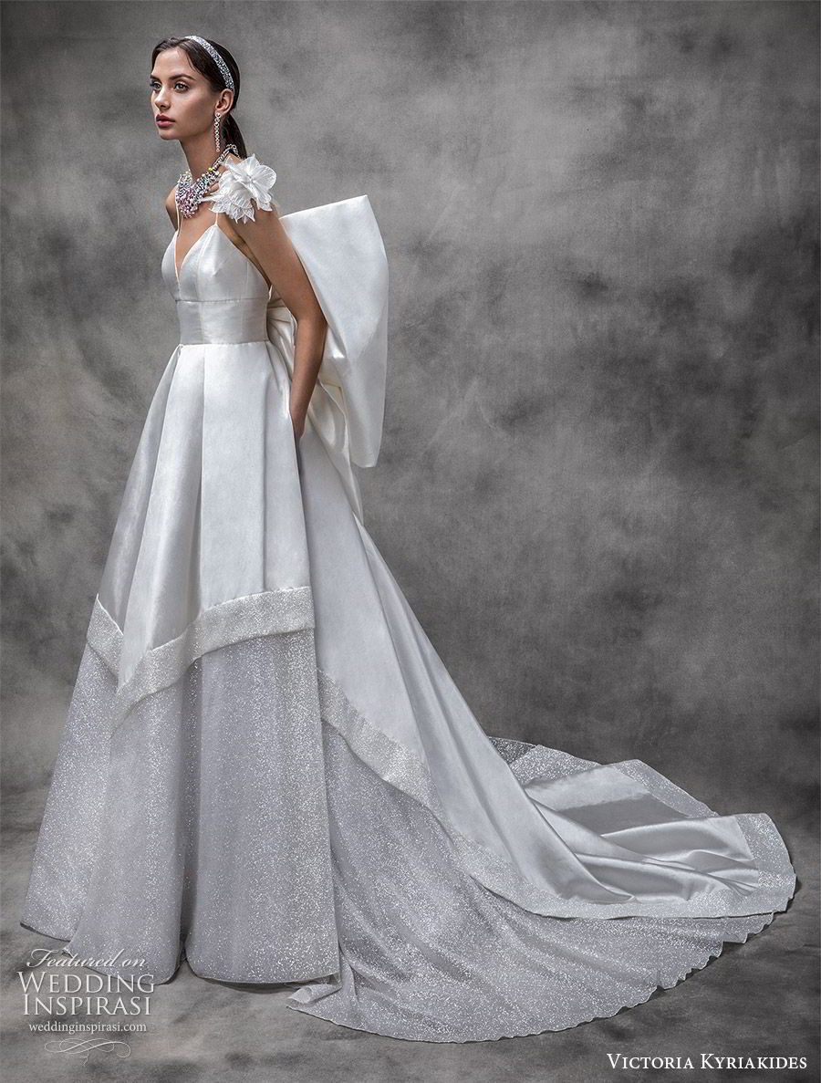 victoria kyriakides spring 2020 bridal sleeveless thin straps sweetheart neckline embellished skirt a line ball gown wedding dress (18) bow back cathedral train glitzy princess mv