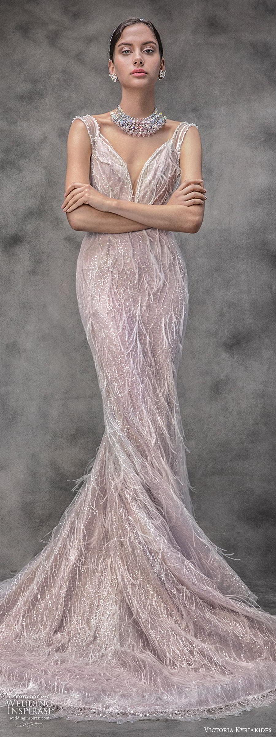 victoria kyriakides spring 2020 bridal sleevless sheer cap sleeves split sweetheart neckline fully embellished sheath wedding dress (12) glitzy glam blush pink chapel train mv