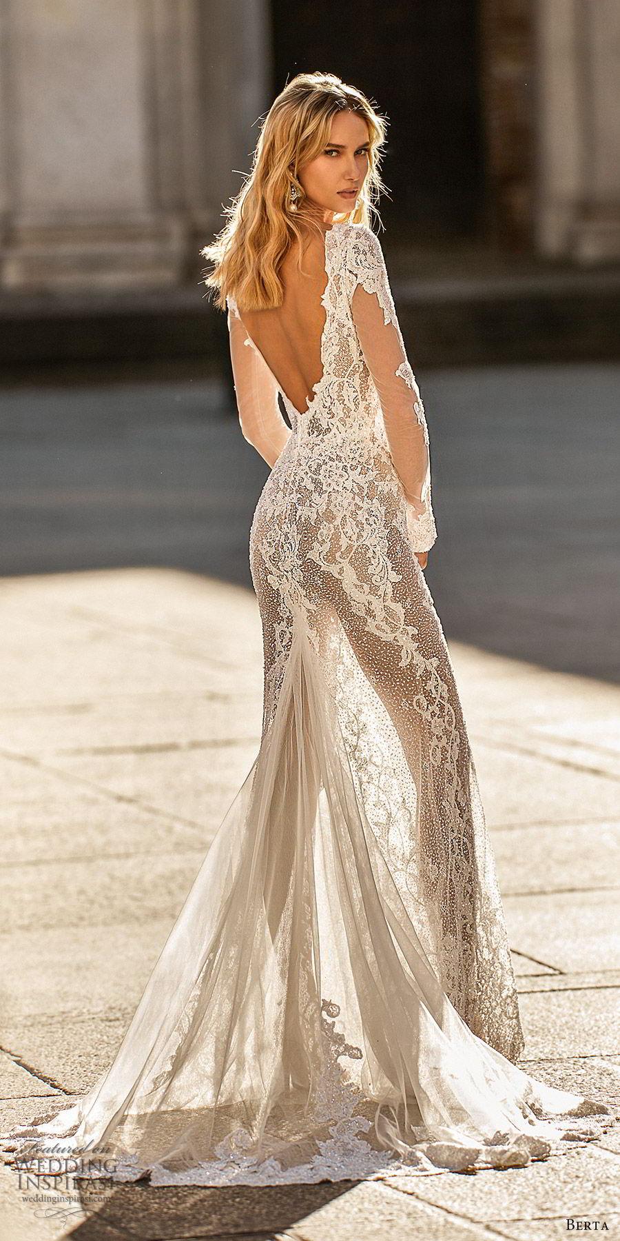 berta spring 2020 bridal illusion long flare sleeves deep v neck fully embellished lace sheath wedding dress (13) romantic elegant low back chapel train zv