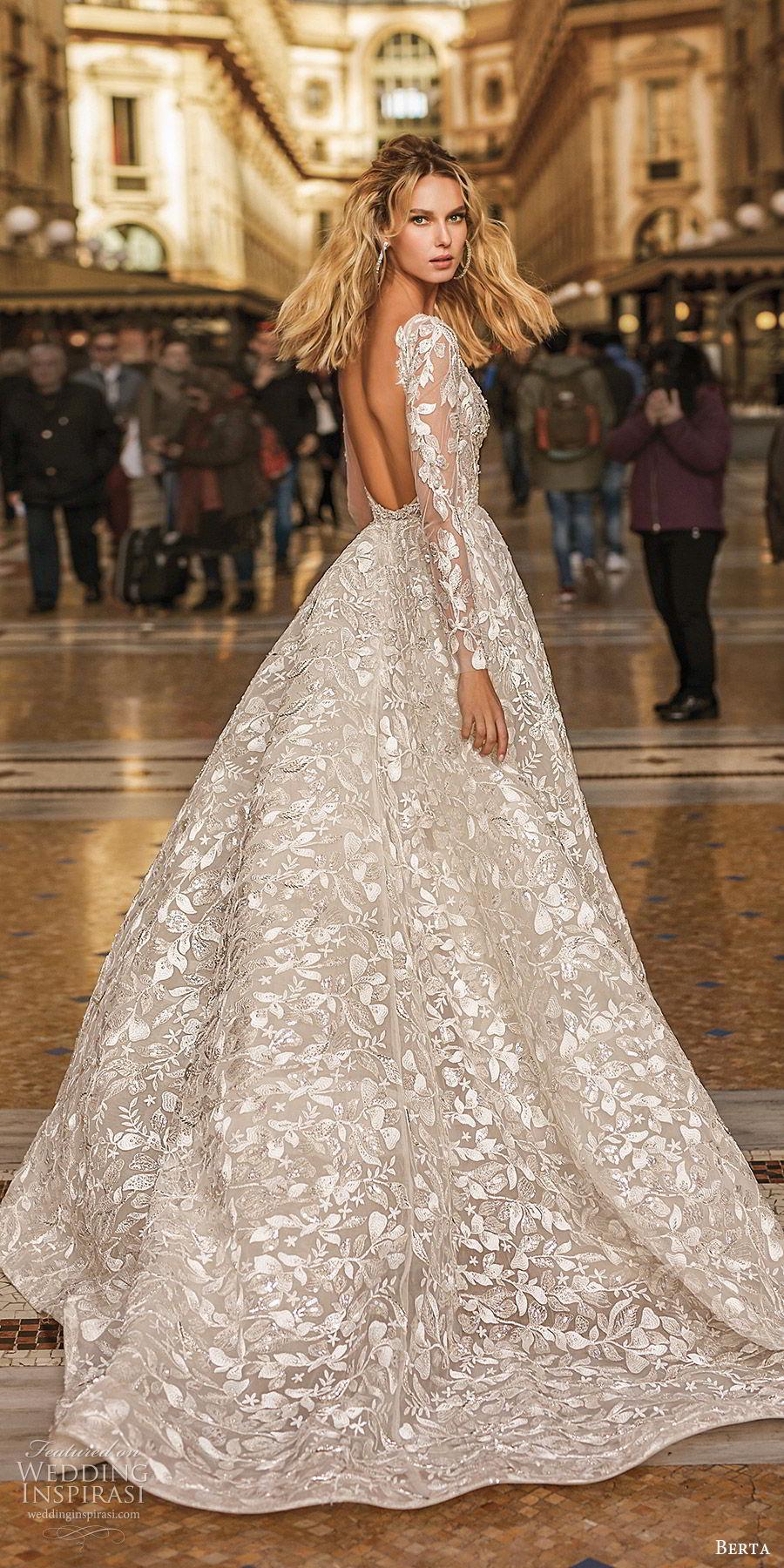 berta spring 2020 bridal illusion long sleeves deep v neck fully embellished a line ball gown wedding dress (11) romantic elegant chapel train bv