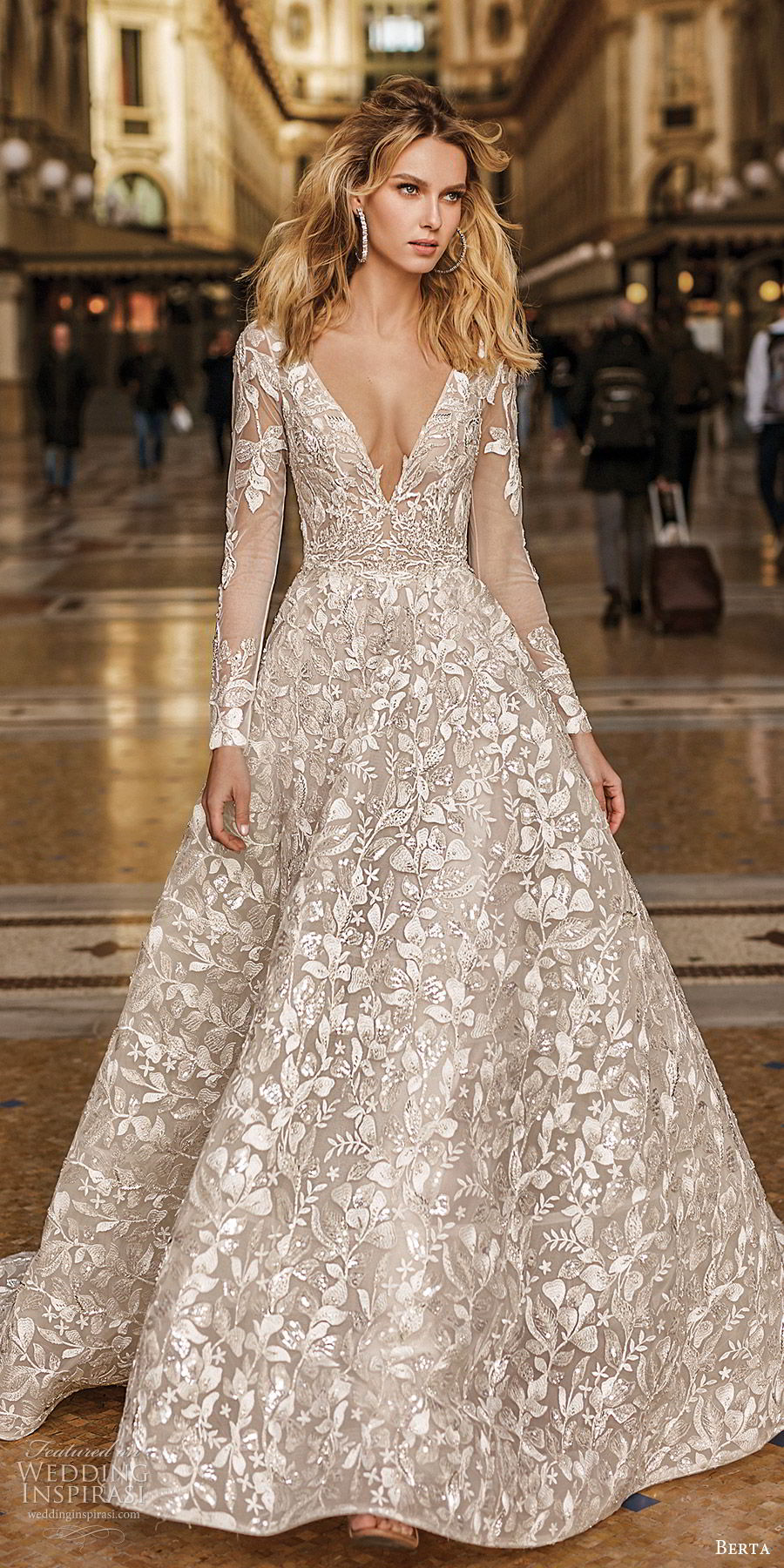 berta spring 2020 bridal illusion long sleeves deep v neck fully embellished a line ball gown wedding dress (11) romantic elegant chapel train mv