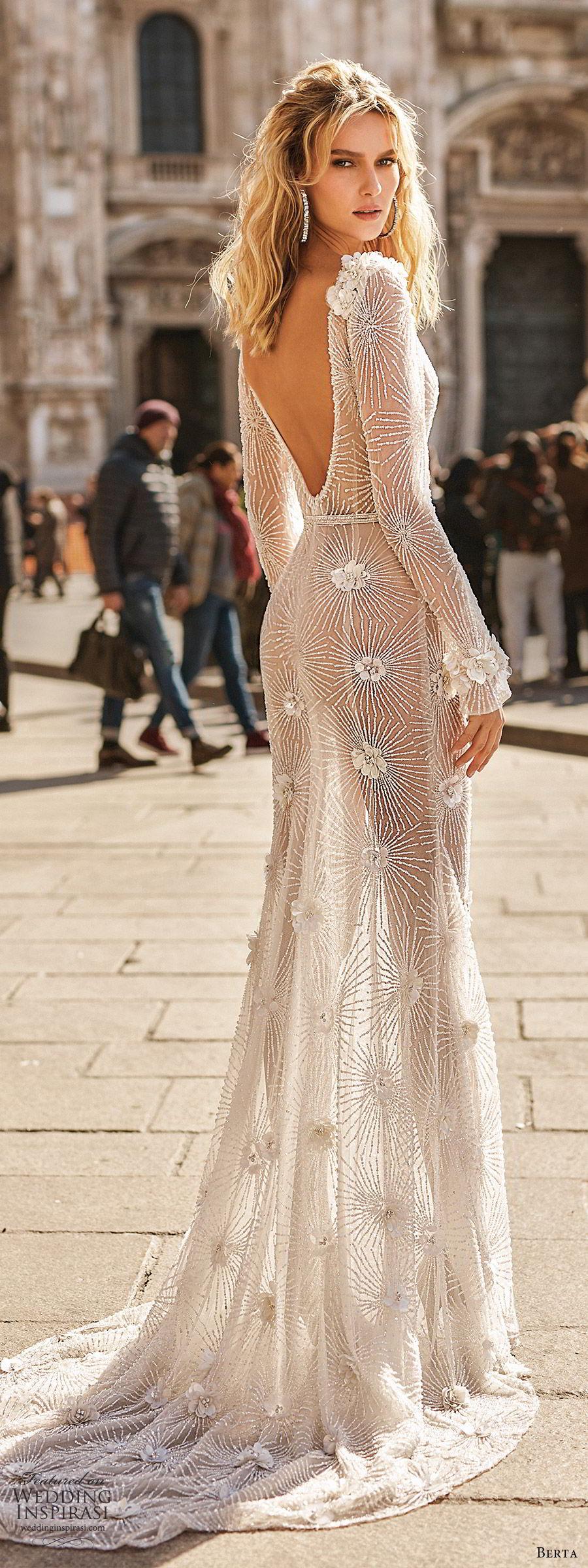 berta spring 2020 bridal illusion long sleeves deep v neckline fully embellished sheath wedding dress (12) sheer skirt chapel train glitzy glam bv