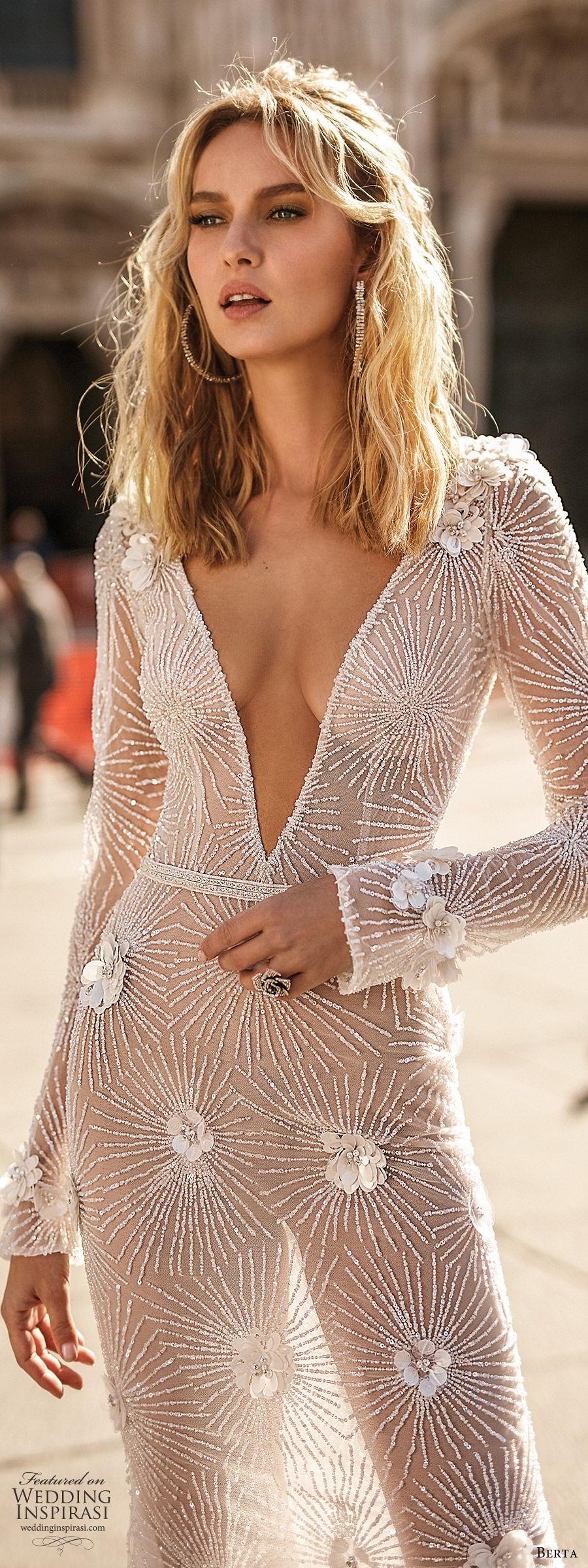 berta spring 2020 bridal illusion long sleeves deep v neckline fully embellished sheath wedding dress (12) sheer skirt chapel train glitzy glam mv