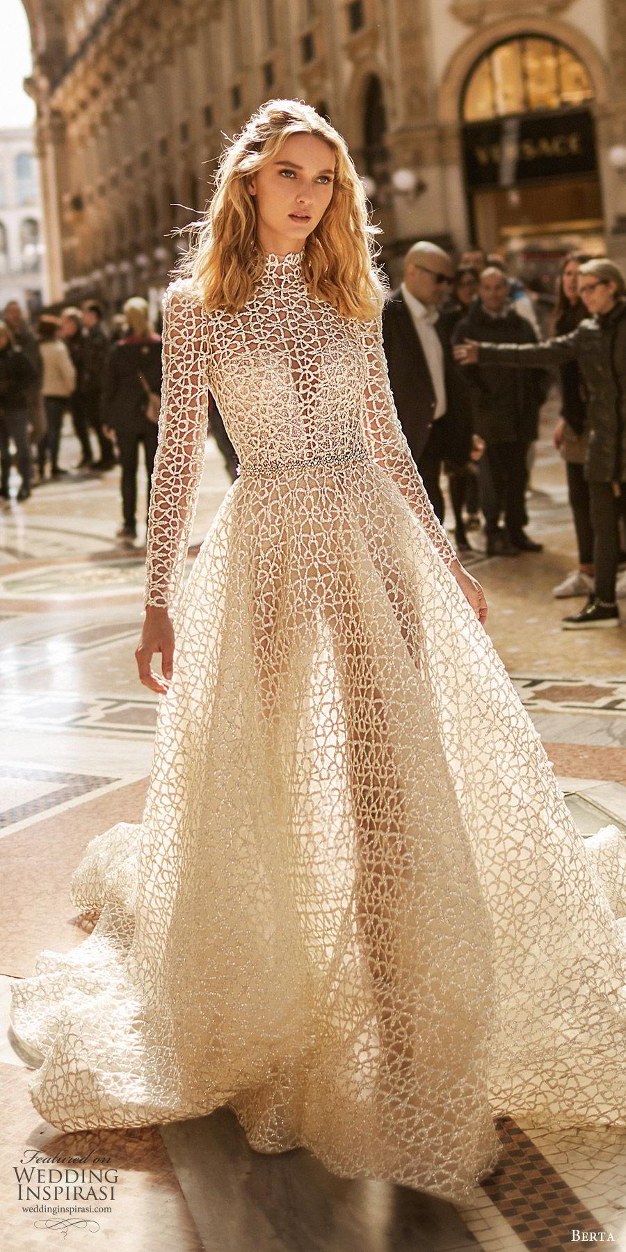 berta spring 2020 bridal illusion long sleeves high neck sheer bodice sweetheart fully embellished ball gown a line wedding dress (4) modern elegant chapel train mv