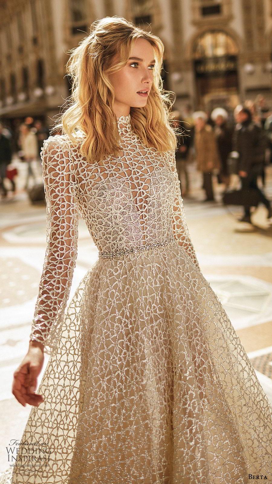 berta spring 2020 bridal illusion long sleeves high neck sheer bodice sweetheart fully embellished ball gown a line wedding dress (4) modern elegant chapel train zv