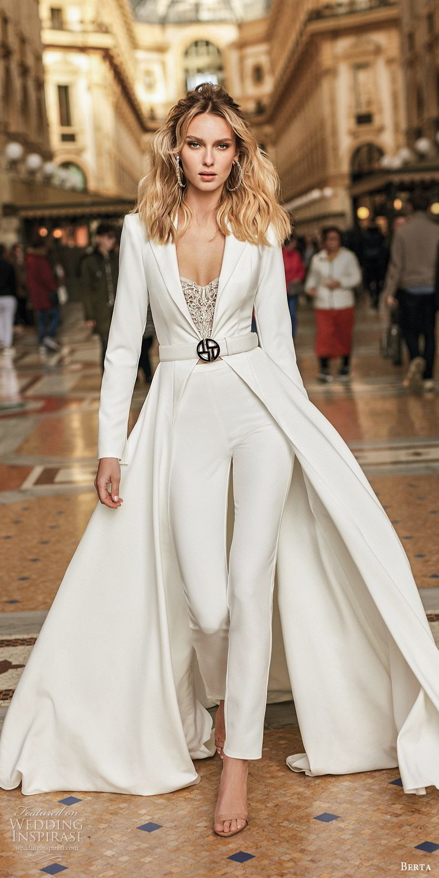 berta spring 2020 bridal long sleeve full length jacket minimal pant suit wedding dress (10) modern chic clean mv