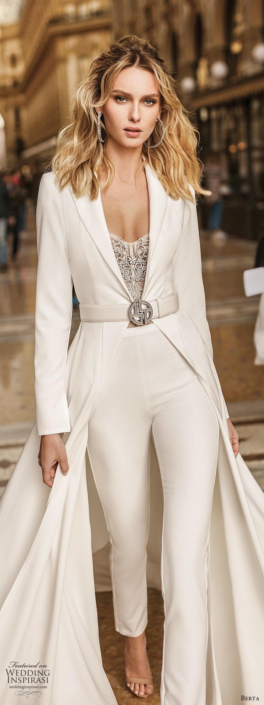 berta spring 2020 bridal long sleeve full length jacket minimal pant suit wedding dress (10) modern chic clean zv