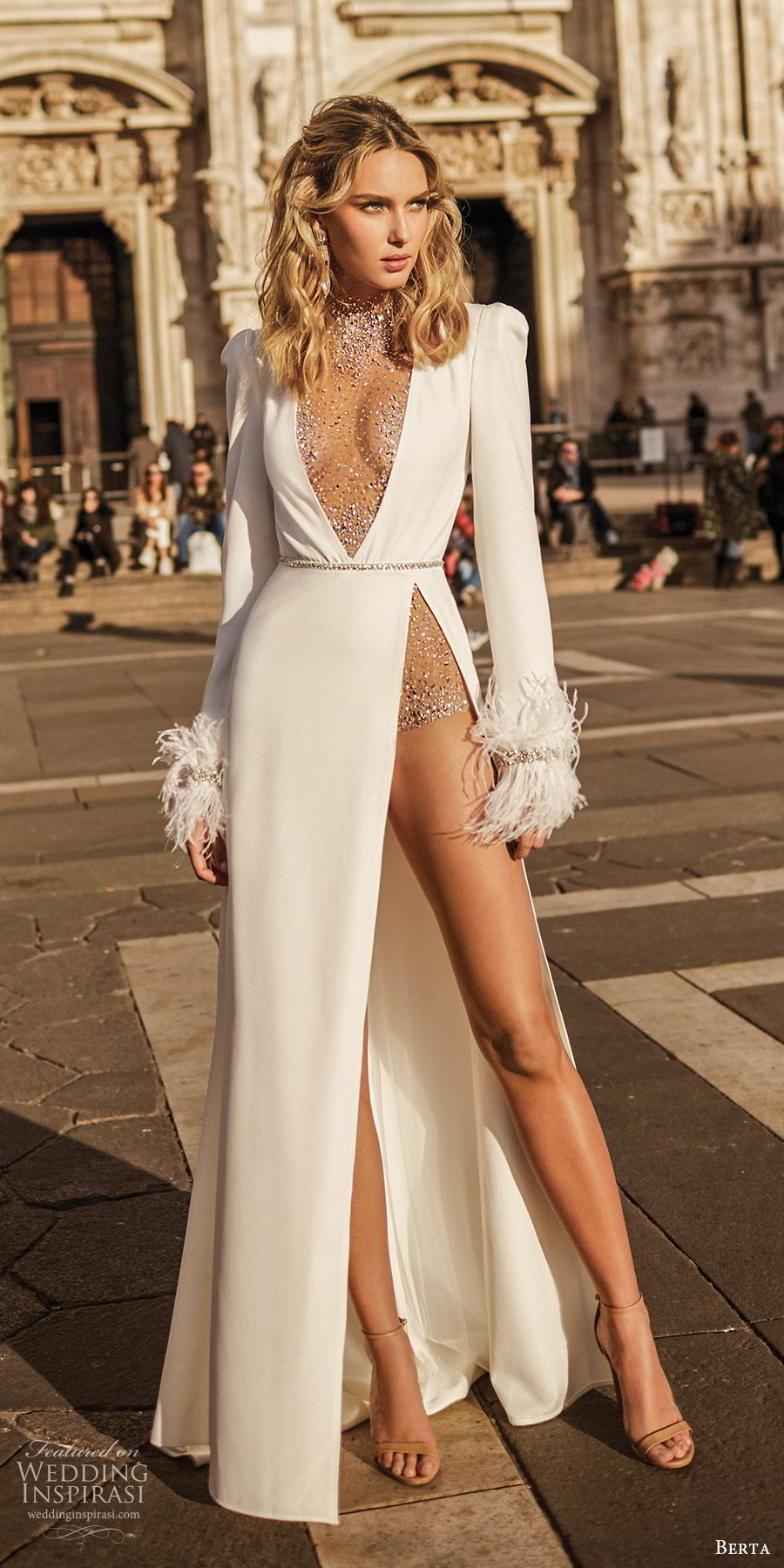 berta spring 2020 bridal long sleeve illusion high neck deep v neckline high slit skirt a line wedding dress (8) glam sexy modern mv