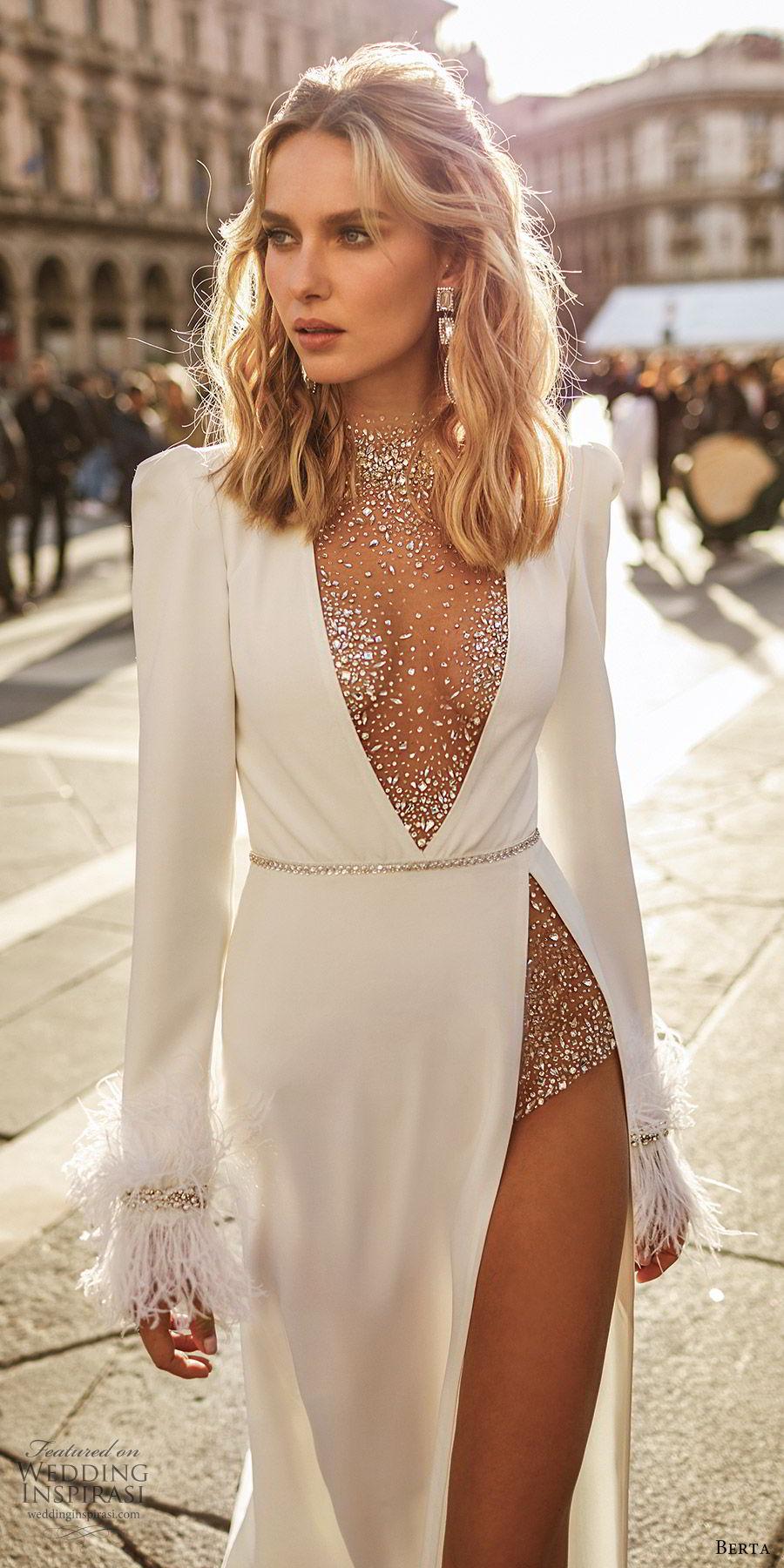 berta spring 2020 bridal long sleeve illusion high neck deep v neckline high slit skirt a line wedding dress (8) glam sexy modern zv