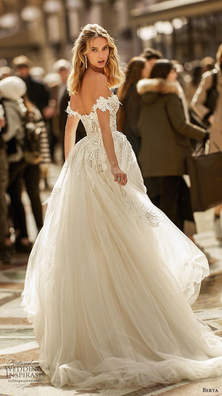 berta spring 2020 bridal off shoulder semi sweetheart embellished bodice a line ball gown (3) princess romantic chapel train bv