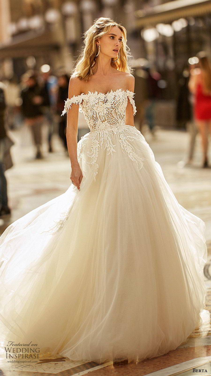 berta spring 2020 bridal off shoulder semi sweetheart embellished bodice a line ball gown (3) princess romantic chapel train mv