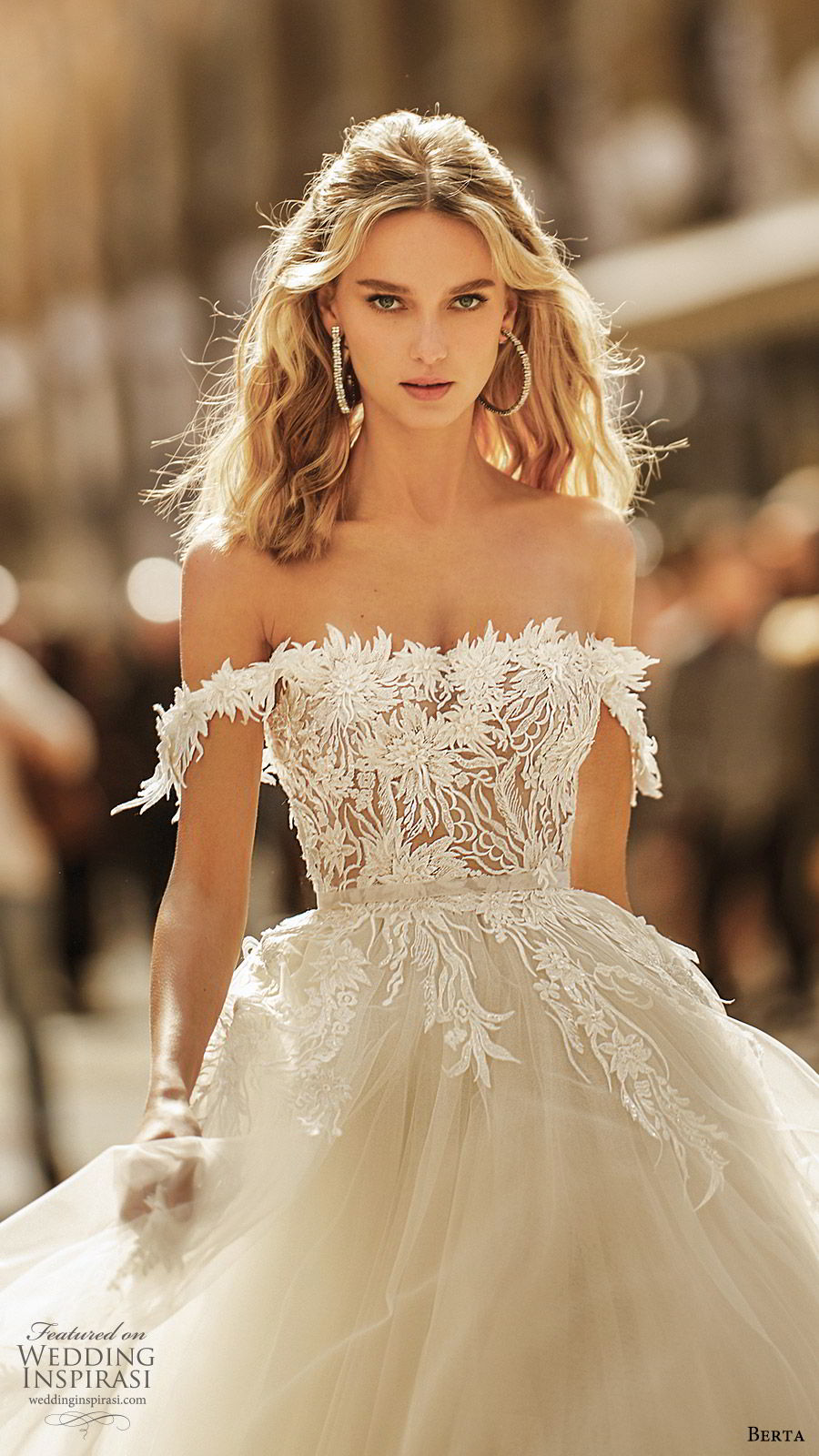 berta spring 2020 bridal off shoulder semi sweetheart embellished bodice a line ball gown (3) princess romantic chapel train zv
