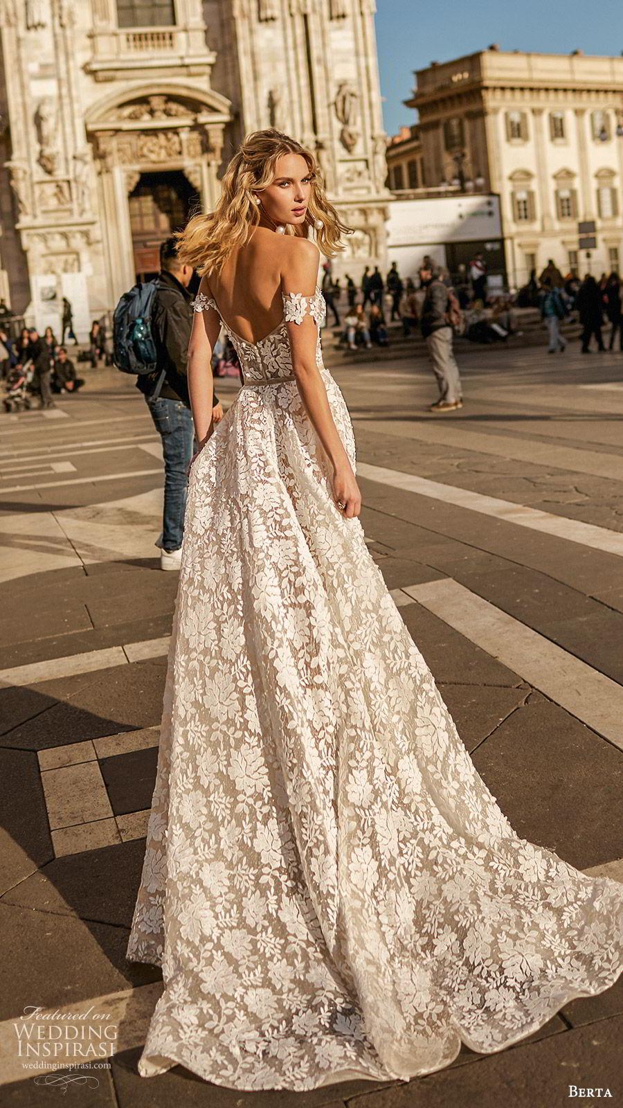 berta spring 2020 bridal off shoulder semi sweetheart sheer bodice skirt fully embellished lace a line ball gown wedding dress (7) romantic elegant sweep train bv