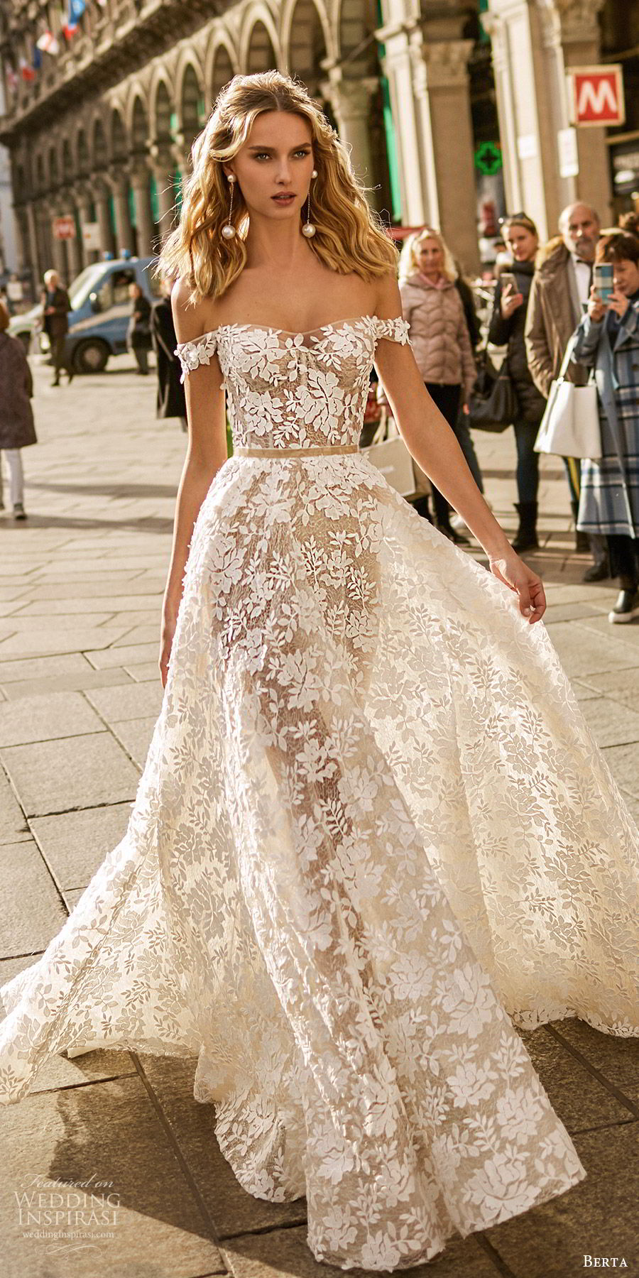 berta spring 2020 bridal off shoulder semi sweetheart sheer bodice skirt fully embellished lace a line ball gown wedding dress (7) romantic elegant sweep train mv