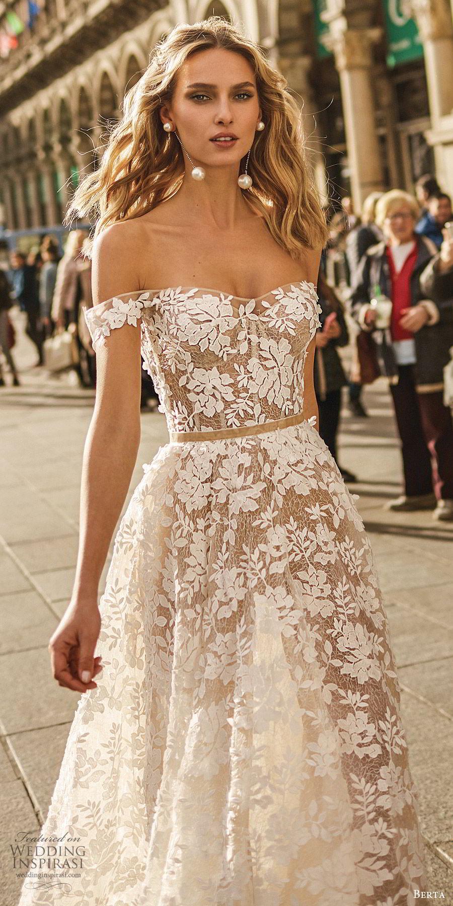 berta spring 2020 bridal off shoulder semi sweetheart sheer bodice skirt fully embellished lace a line ball gown wedding dress (7) romantic elegant sweep train zv