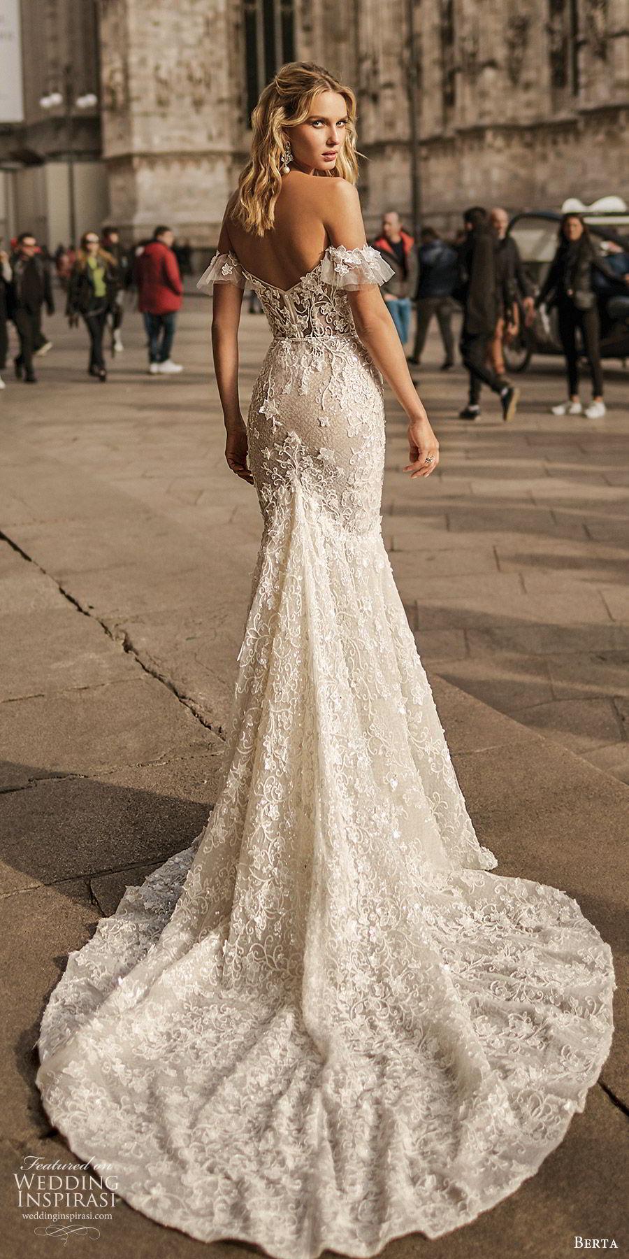 berta spring 2020 bridal off shoulder sweetheart fully embellished lace trumpet sheath mermaid wedding dress (6) elegant romantic chapel train bv