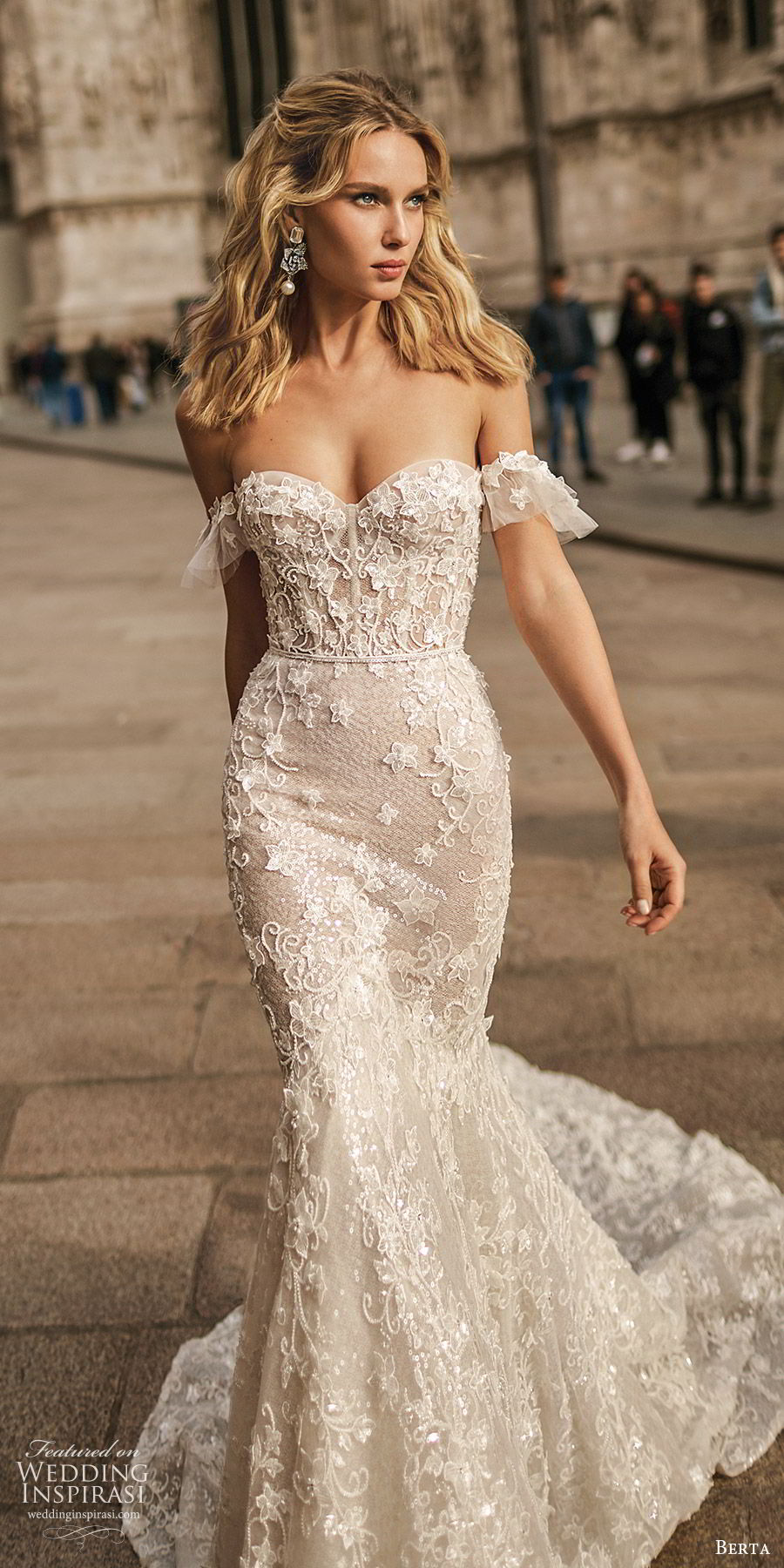 berta spring 2020 bridal off shoulder sweetheart fully embellished lace trumpet sheath mermaid wedding dress (6) elegant romantic chapel train mv