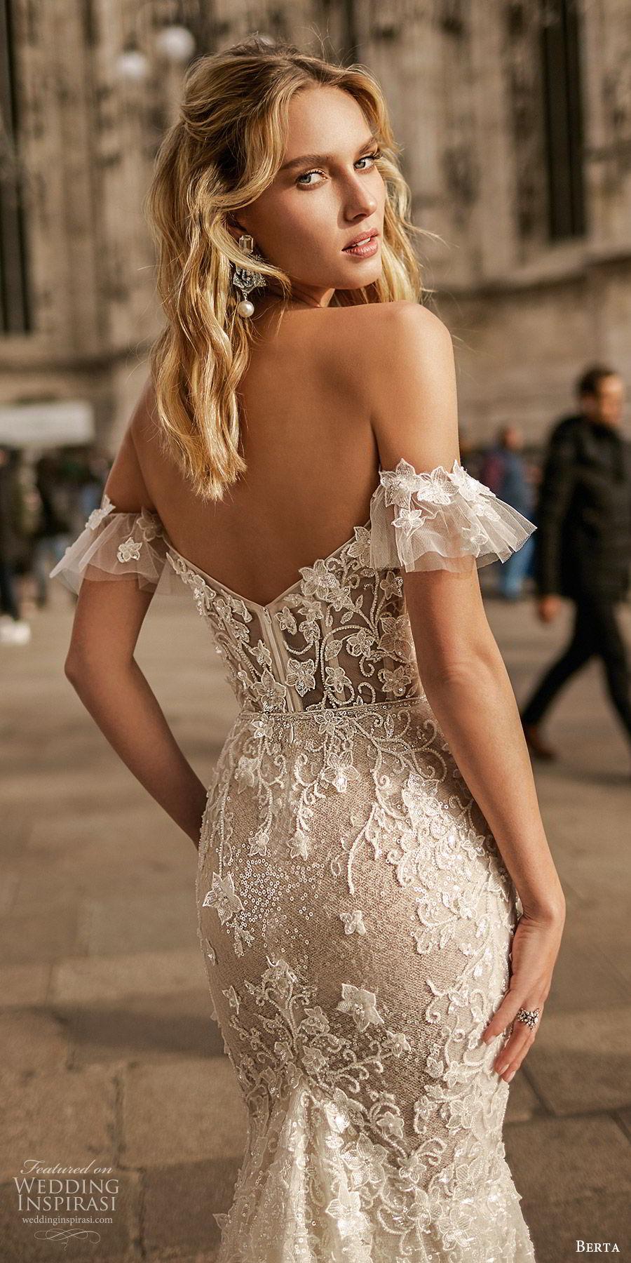 berta spring 2020 bridal off shoulder sweetheart fully embellished lace trumpet sheath mermaid wedding dress (6) elegant romantic chapel train zbv