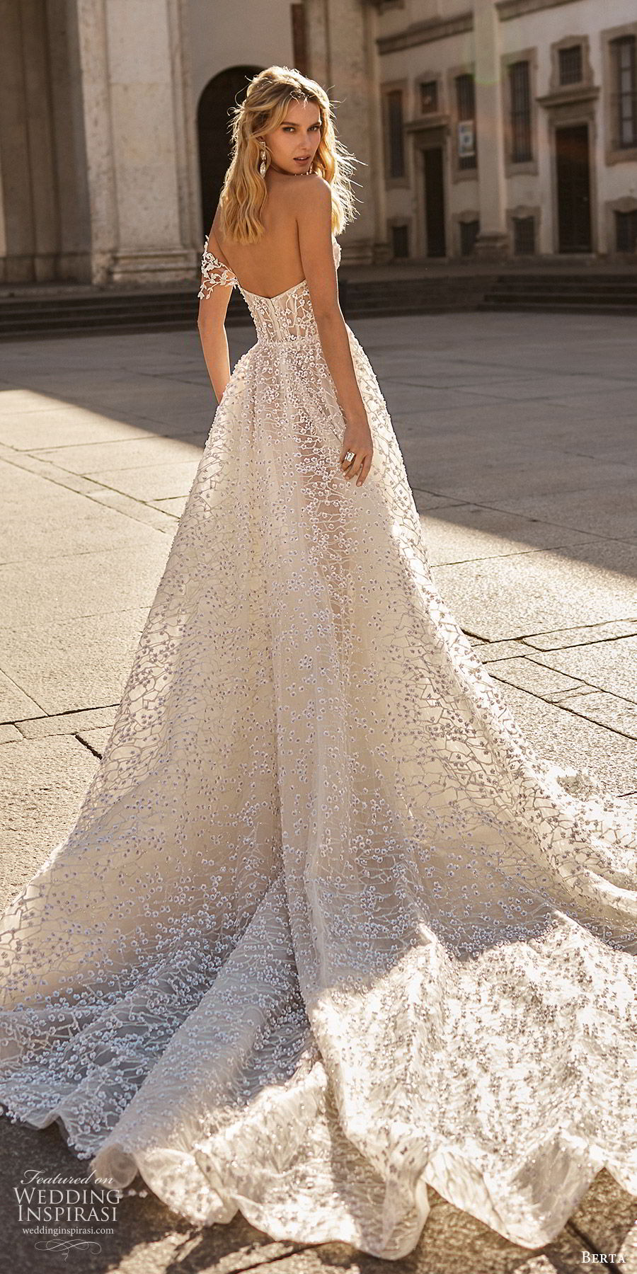 berta spring 2020 bridal one shoulder sweetheart fully embellished beaded a line ball gown wedding dress (15) romantic glitzy princess cathedral train bv
