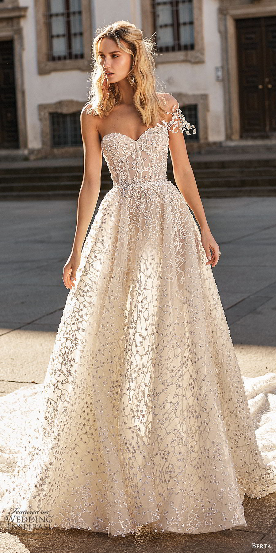 berta spring 2020 bridal one shoulder sweetheart fully embellished beaded a line ball gown wedding dress (15) romantic glitzy princess cathedral train mv