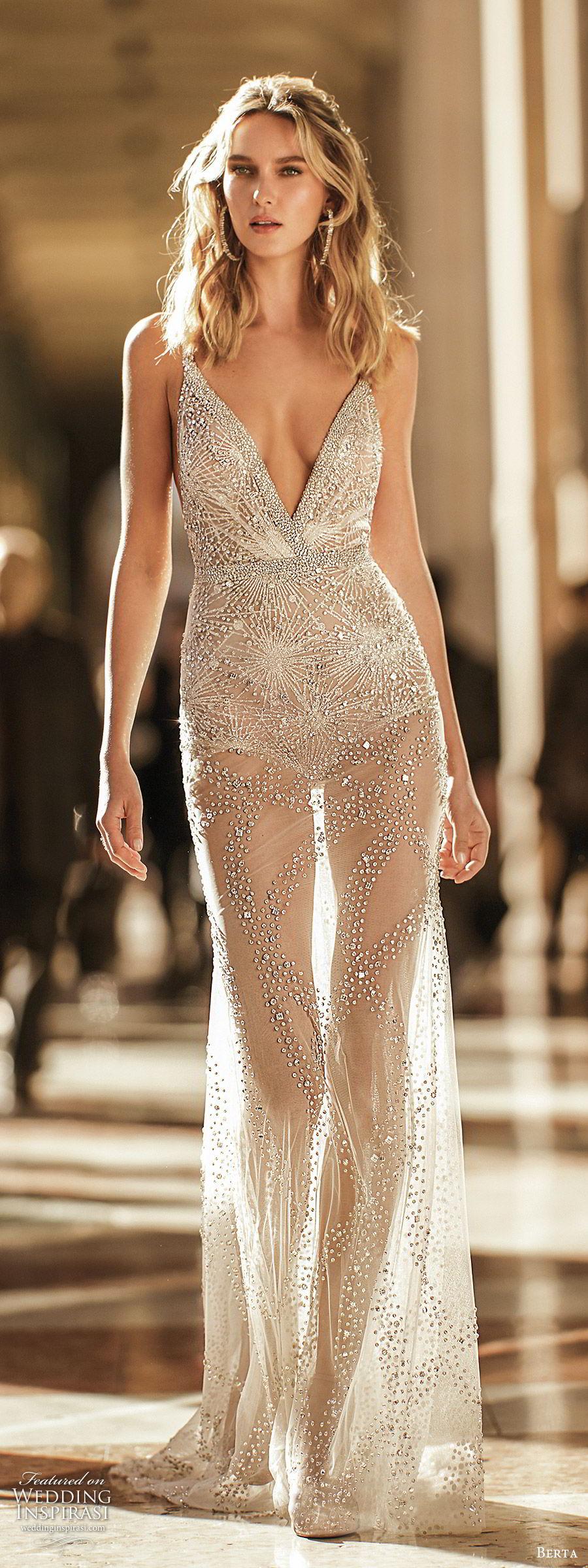berta spring 2020 bridal sleeveles beaded straps deep v neckline fully embellished sheer skirt sheath wedding dress (5) glam sexy chapel train mv