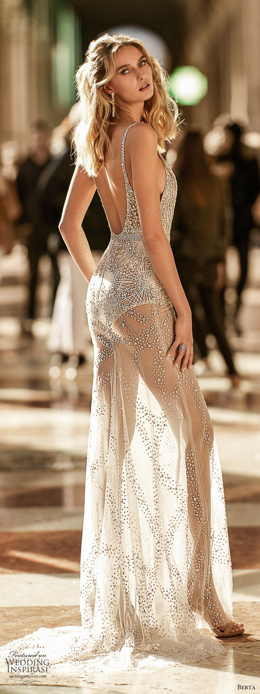 berta spring 2020 bridal sleeveles beaded straps deep v neckline fully embellished sheer skirt sheath wedding dress (5) glam sexy chapel train sv