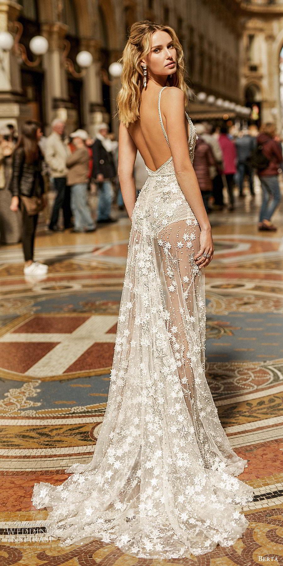 berta spring 2020 bridal sleeveless deep v neck fully embellished sheath wedding dress sheer skirt slit (2) glam sexy sweep train low back bv