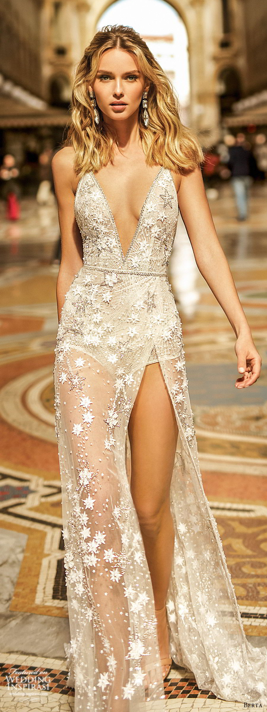 berta spring 2020 bridal sleeveless deep v neck fully embellished sheath wedding dress sheer skirt slit (2) glam sexy sweep train low back  mv