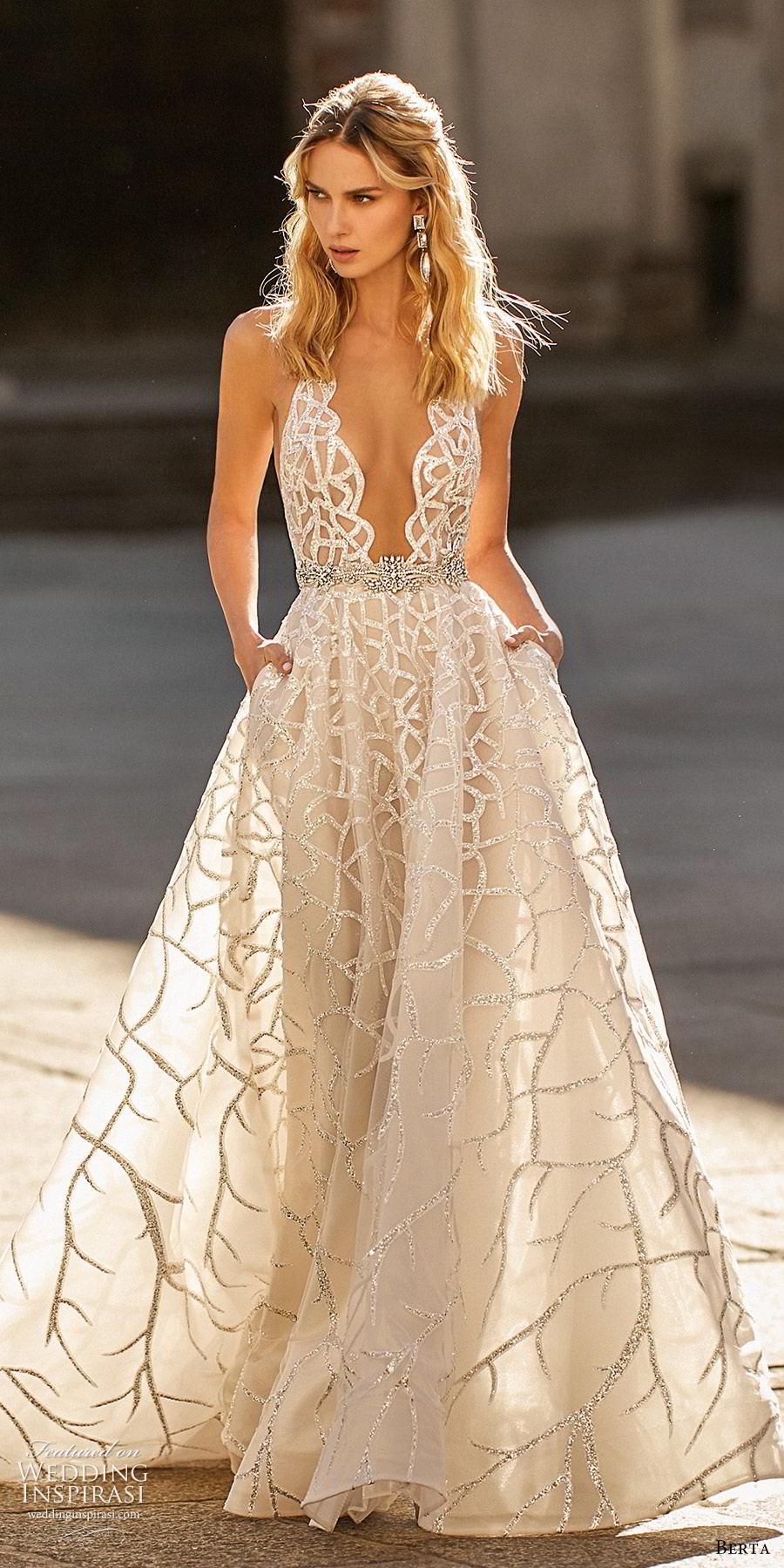 berta spring 2020 bridal sleeveless hatler neck plunging neckline fully embellished a line ball gown wedding dress (14) champagne glitzy princess chapel train mv
