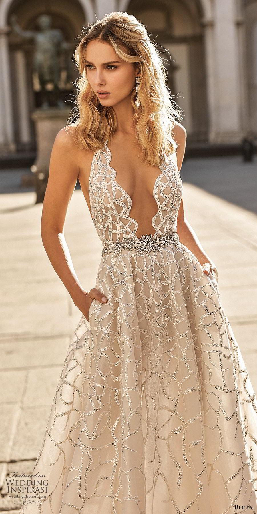 berta spring 2020 bridal sleeveless hatler neck plunging neckline fully embellished a line ball gown wedding dress (14) champagne glitzy princess chapel train zv