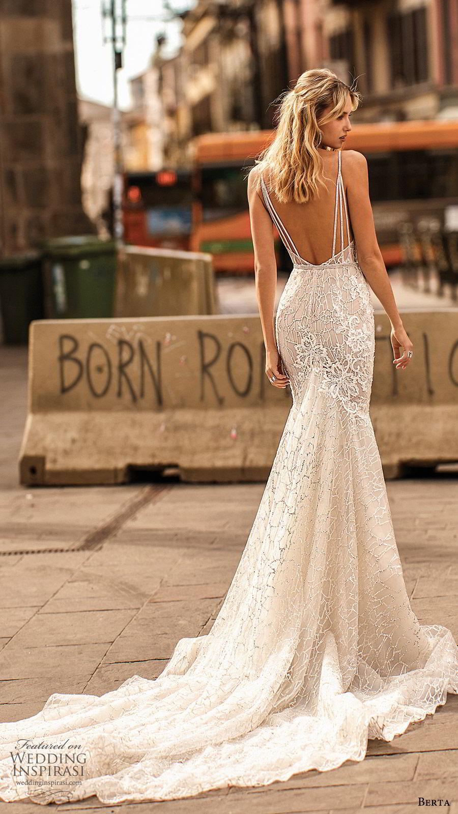 berta spring 2020 bridal sleevless deep v neckline fully embellished lace mermaid wedding dress (18) elegant glam low back chapel train bv