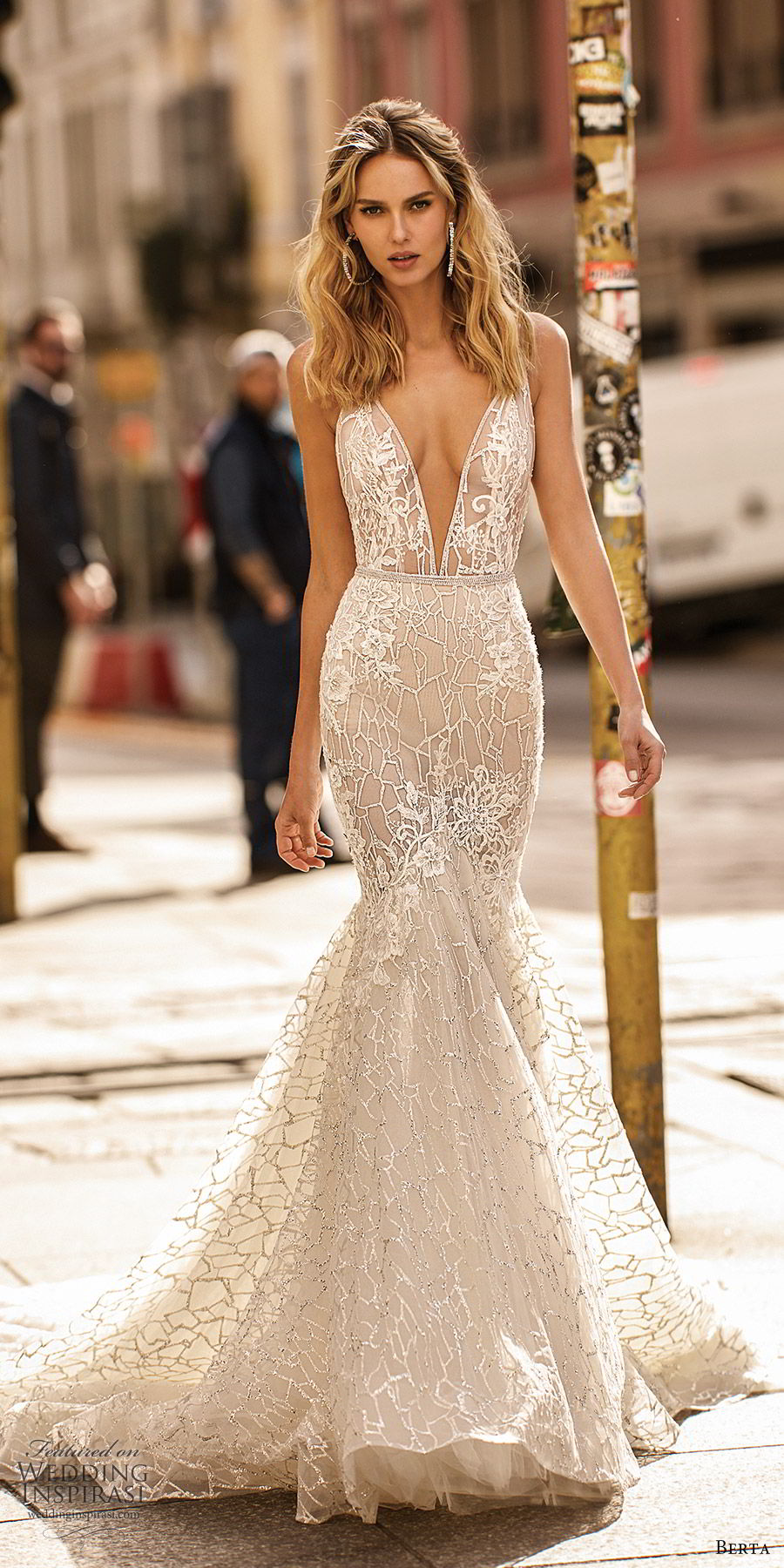 berta spring 2020 bridal sleevless deep v neckline fully embellished lace mermaid wedding dress (18) elegant glam low back chapel train mv