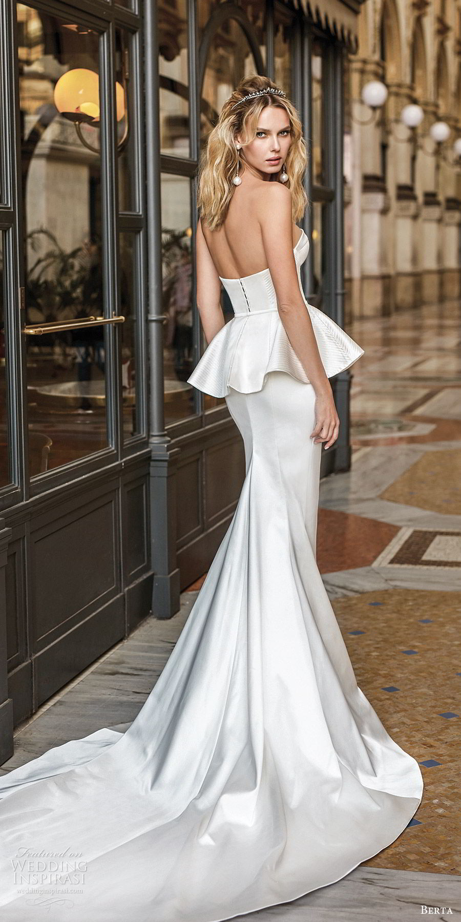 berta spring 2020 bridal strapless sweetheart corset bodice peplum sheath mermaid fit flare wedding dress (9) clean modern chapel train bv