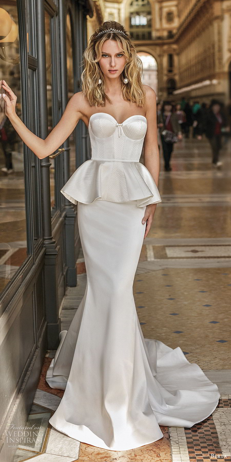 berta spring 2020 bridal strapless sweetheart corset bodice peplum sheath mermaid fit flare wedding dress (9) clean modern chapel train mv