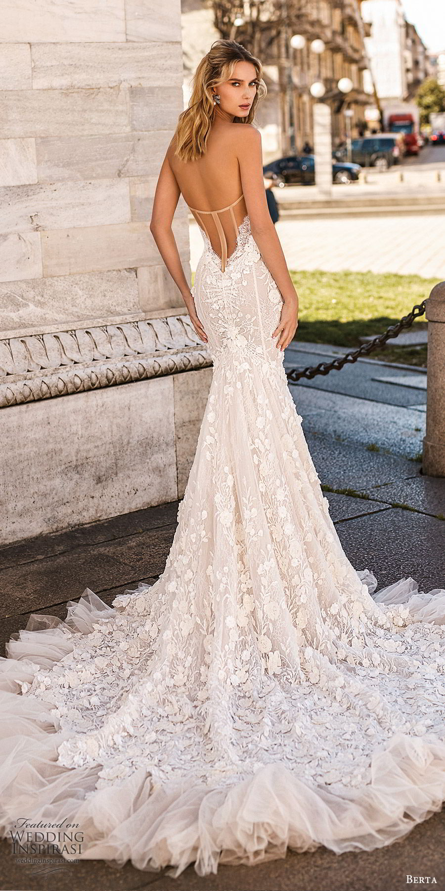 berta spring 2020 bridal strapless sweetheart fully embellished lace mermaid wedding dress (1) elegant sexy chapel train sheer back bv
