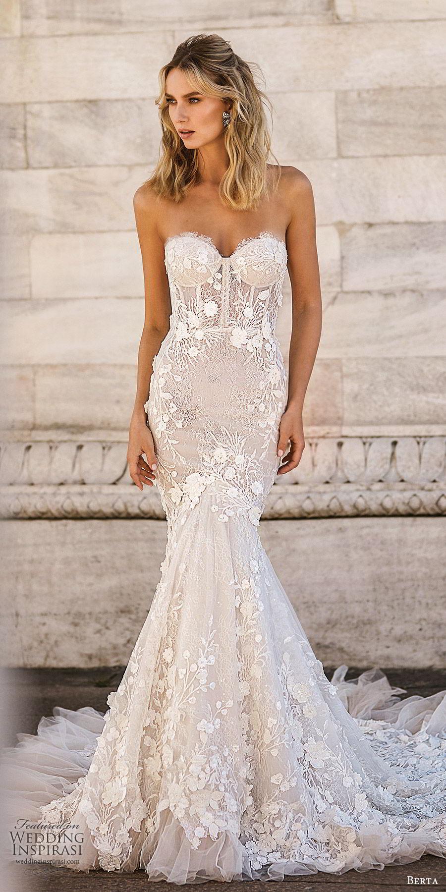 berta spring 2020 bridal strapless sweetheart fully embellished lace mermaid wedding dress (1) elegant sexy chapel train sheer back mv
