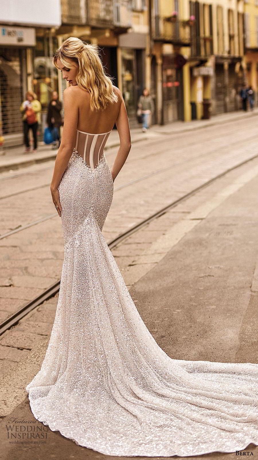 berta spring 2020 bridal strapless sweetheart fully embellished mermaid sheath wedding dress (16) glitzy elegant sheer back chapel train bv